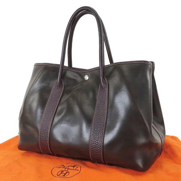6a57eb9ef059 Hermes Handbags - 100% Auth Hermes Garden Party Amazonia Purse Brown